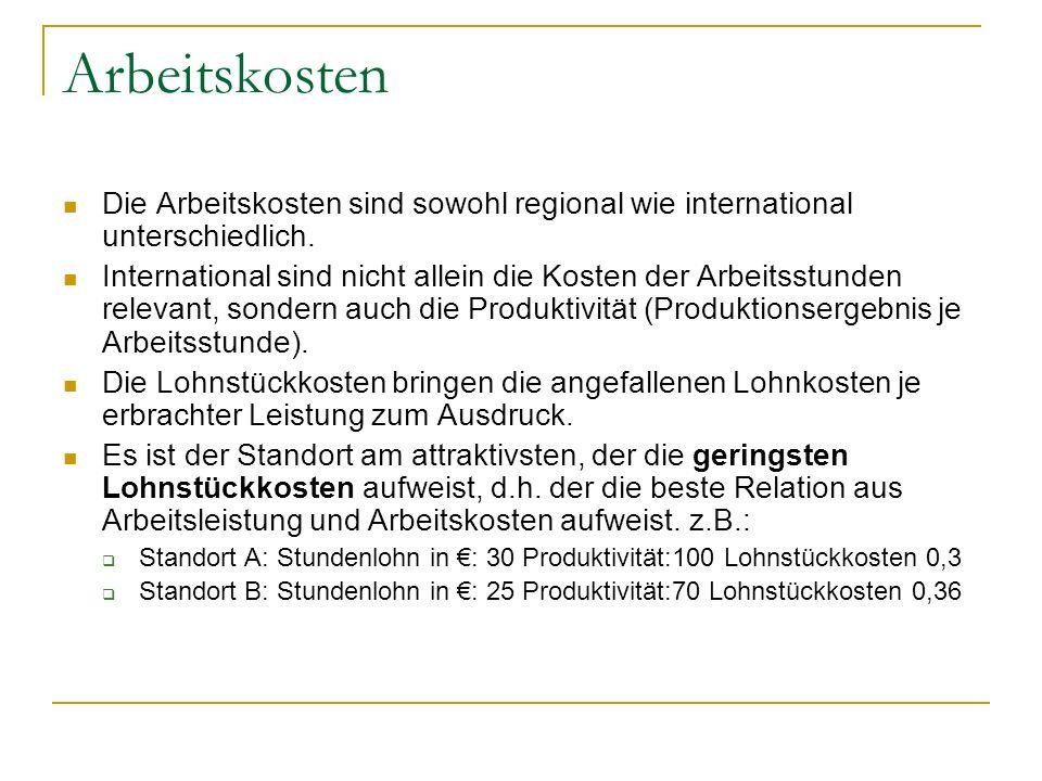 Arbeitskosten Die Arbeitskosten sind sowohl regional wie international unterschiedlich. International sind nicht allein die Kosten der Arbeitsstunden