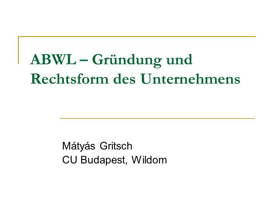 ABWL – Gründung und Rechtsform des Unternehmens Mátyás Gritsch CU Budapest, Wildom
