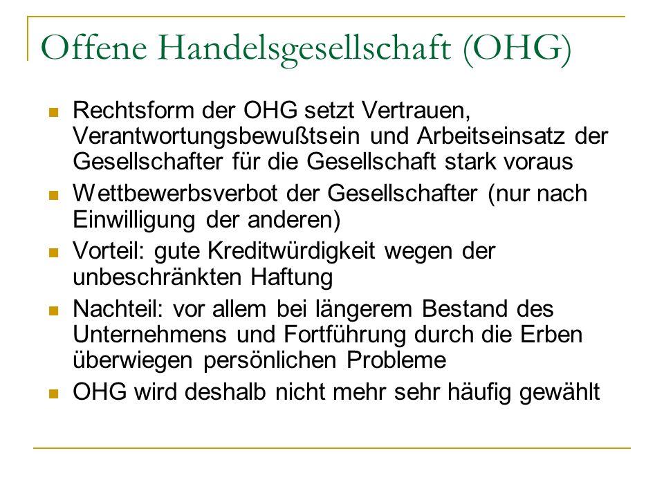 Rechtsform der OHG setzt Vertrauen, Verantwortungsbewußtsein und Arbeitseinsatz der Gesellschafter für die Gesellschaft stark voraus Wettbewerbsverbot