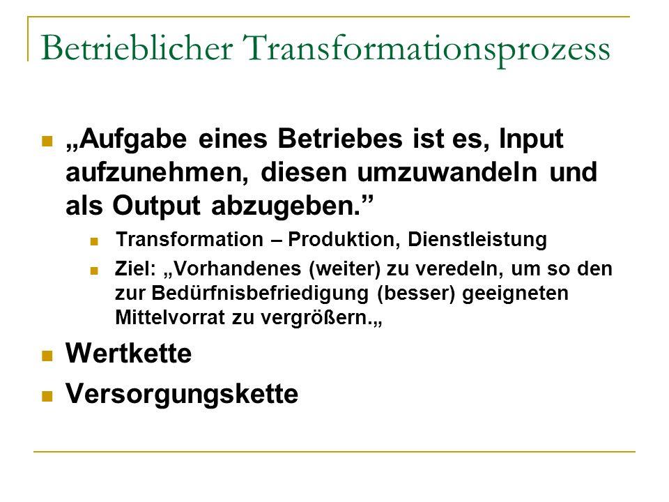 Betrieblicher Transformationsprozess Aufgabe eines Betriebes ist es, Input aufzunehmen, diesen umzuwandeln und als Output abzugeben. Transformation –