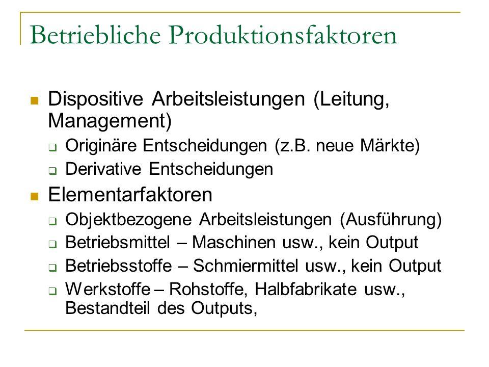 Betriebliche Produktionsfaktoren Dispositive Arbeitsleistungen (Leitung, Management) Originäre Entscheidungen (z.B.