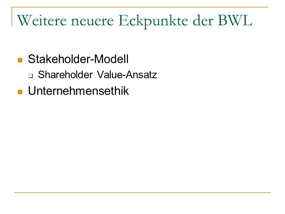 Weitere neuere Eckpunkte der BWL Stakeholder-Modell Shareholder Value-Ansatz Unternehmensethik