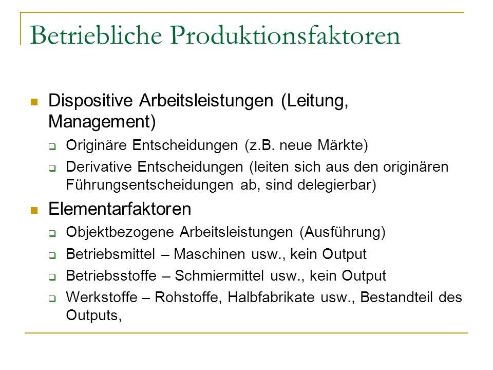 Betriebliche Produktionsfaktoren Dispositive Arbeitsleistungen (Leitung, Management) Originäre Entscheidungen (z.B. neue Märkte) Derivative Entscheidu