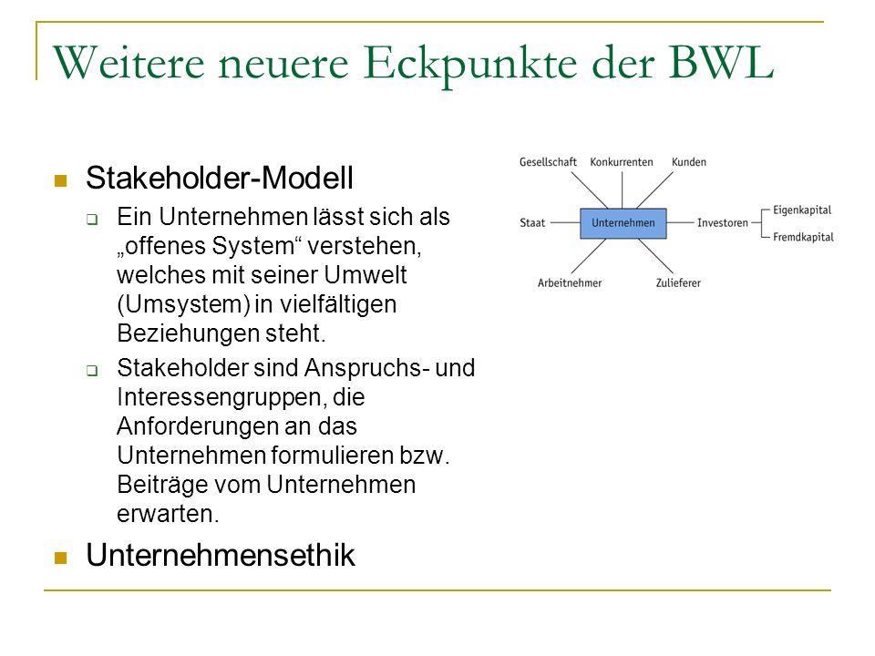 Weitere neuere Eckpunkte der BWL Stakeholder-Modell Ein Unternehmen lässt sich als offenes System verstehen, welches mit seiner Umwelt (Umsystem) in v