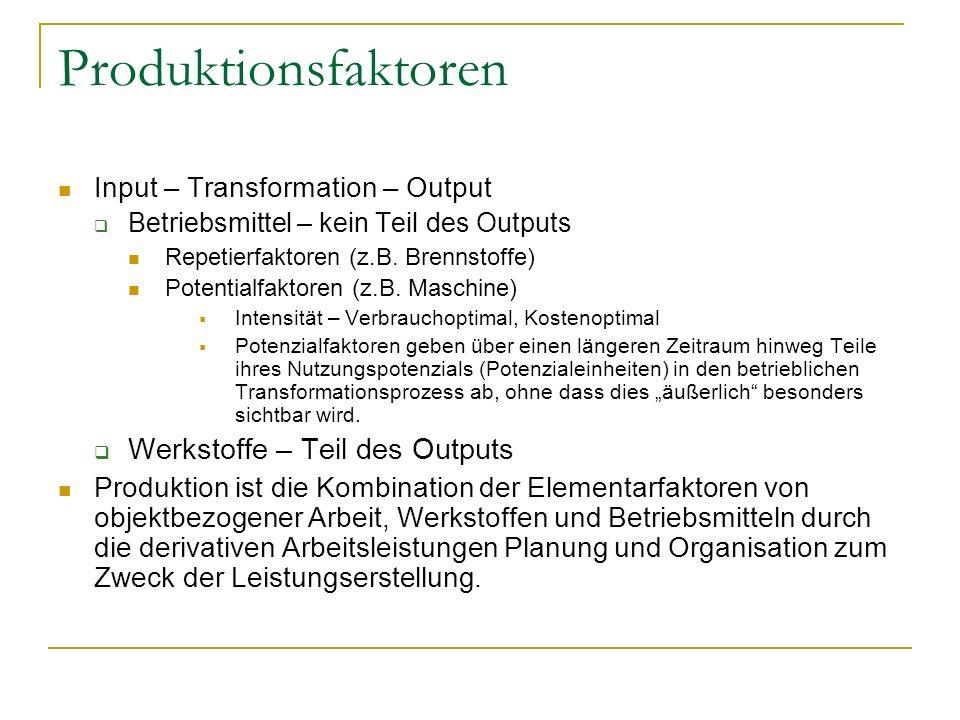 Produktionsfaktoren Input – Transformation – Output Betriebsmittel – kein Teil des Outputs Repetierfaktoren (z.B. Brennstoffe) Potentialfaktoren (z.B.