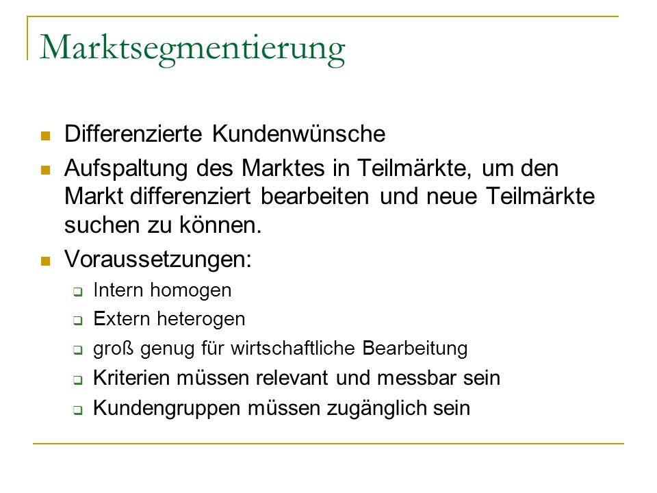 Marktsegmentierung Differenzierte Kundenwünsche Aufspaltung des Marktes in Teilmärkte, um den Markt differenziert bearbeiten und neue Teilmärkte suchen zu können.