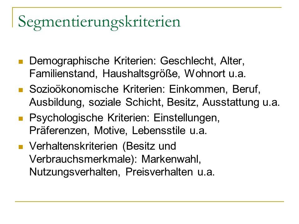 Segmentierungskriterien Demographische Kriterien: Geschlecht, Alter, Familienstand, Haushaltsgröße, Wohnort u.a.