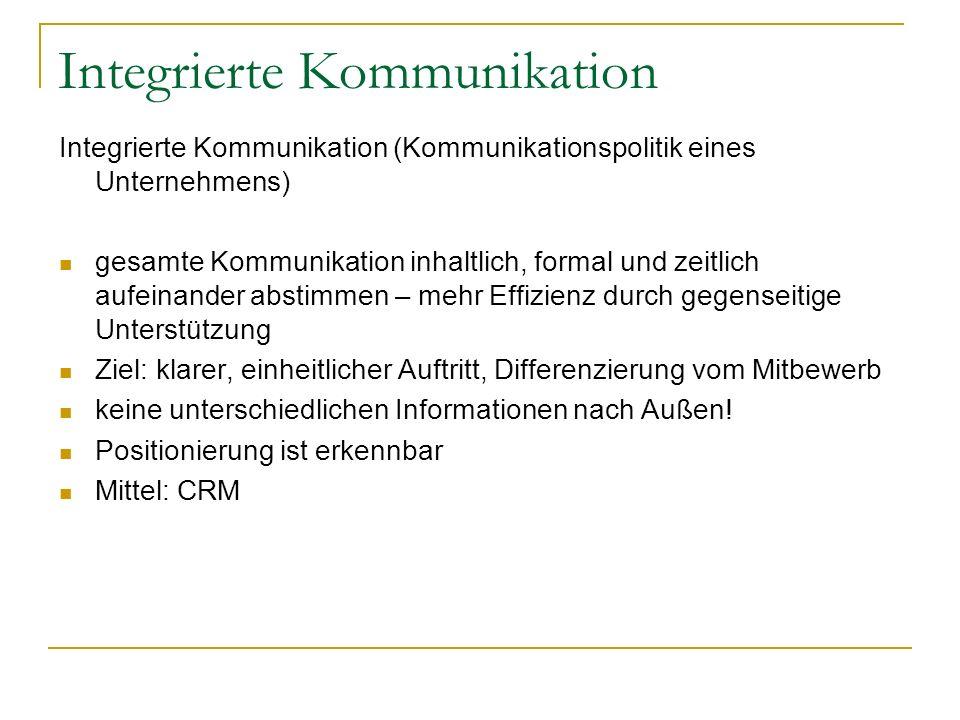 Integrierte Kommunikation Integrierte Kommunikation (Kommunikationspolitik eines Unternehmens) gesamte Kommunikation inhaltlich, formal und zeitlich a