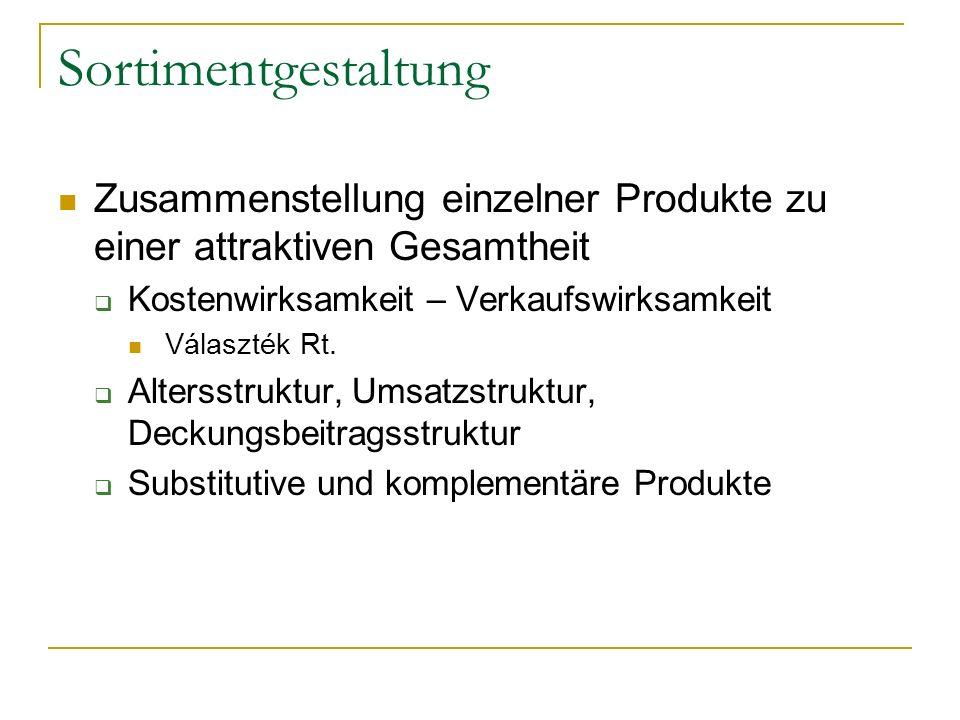 Sortimentgestaltung Zusammenstellung einzelner Produkte zu einer attraktiven Gesamtheit Kostenwirksamkeit – Verkaufswirksamkeit Választék Rt.