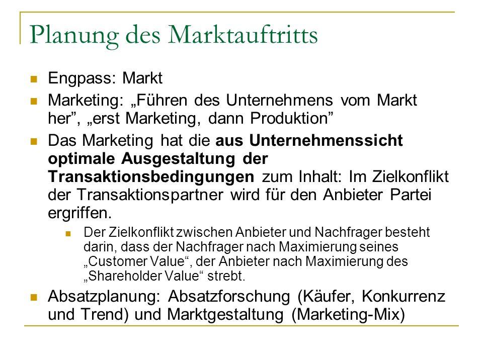 Planung des Marktauftritts Engpass: Markt Marketing: Führen des Unternehmens vom Markt her, erst Marketing, dann Produktion Das Marketing hat die aus