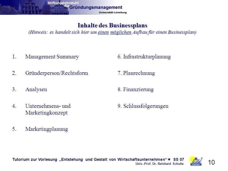 Tutorium zur Vorlesung Entstehung und Gestalt von Wirtschaftsunternehmen SS 07 Univ.-Prof. Dr. Reinhard Schulte 10 Inhalte des Businessplans (Hinweis: