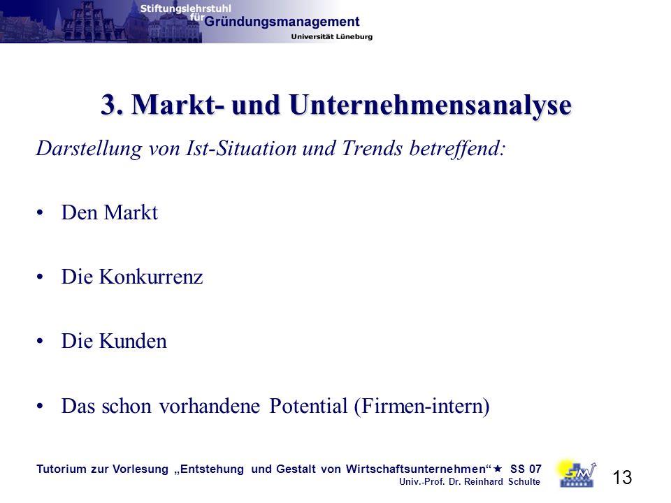 Tutorium zur Vorlesung Entstehung und Gestalt von Wirtschaftsunternehmen SS 07 Univ.-Prof. Dr. Reinhard Schulte 13 3. Markt- und Unternehmensanalyse D