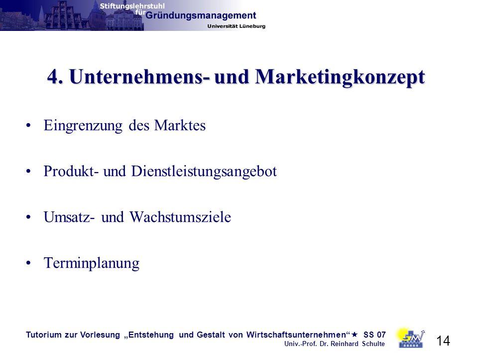 Tutorium zur Vorlesung Entstehung und Gestalt von Wirtschaftsunternehmen SS 07 Univ.-Prof. Dr. Reinhard Schulte 14 4. Unternehmens- und Marketingkonze