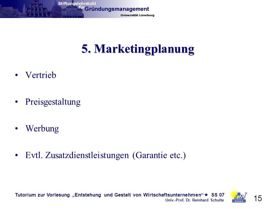 Tutorium zur Vorlesung Entstehung und Gestalt von Wirtschaftsunternehmen SS 07 Univ.-Prof. Dr. Reinhard Schulte 15 5. Marketingplanung Vertrieb Preisg