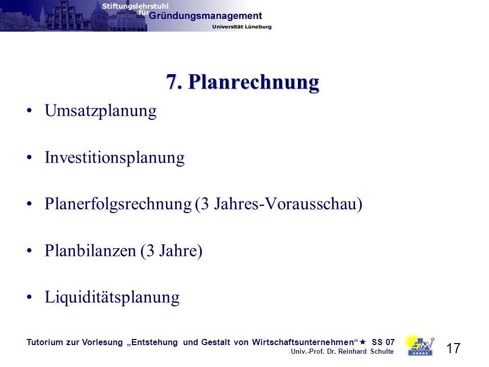 Tutorium zur Vorlesung Entstehung und Gestalt von Wirtschaftsunternehmen SS 07 Univ.-Prof. Dr. Reinhard Schulte 17 7. Planrechnung Umsatzplanung Inves