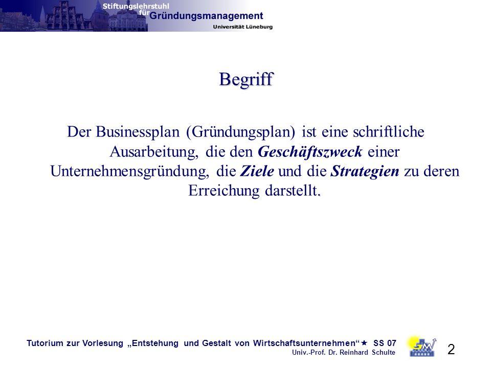 Tutorium zur Vorlesung Entstehung und Gestalt von Wirtschaftsunternehmen SS 07 Univ.-Prof. Dr. Reinhard Schulte 2 Begriff. Der Businessplan (Gründungs