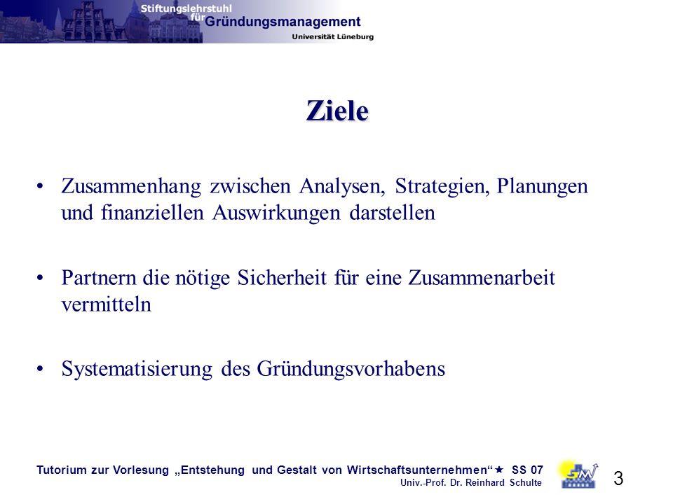 Tutorium zur Vorlesung Entstehung und Gestalt von Wirtschaftsunternehmen SS 07 Univ.-Prof. Dr. Reinhard Schulte 3 Ziele Zusammenhang zwischen Analysen