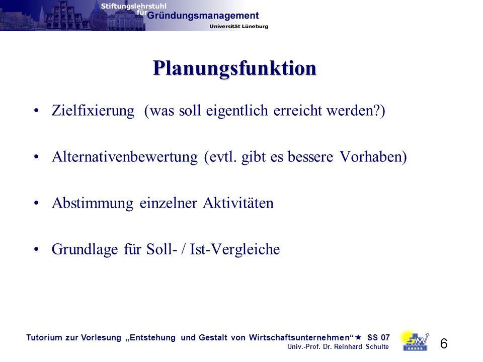 Tutorium zur Vorlesung Entstehung und Gestalt von Wirtschaftsunternehmen SS 07 Univ.-Prof. Dr. Reinhard Schulte 6 Planungsfunktion Zielfixierung (was