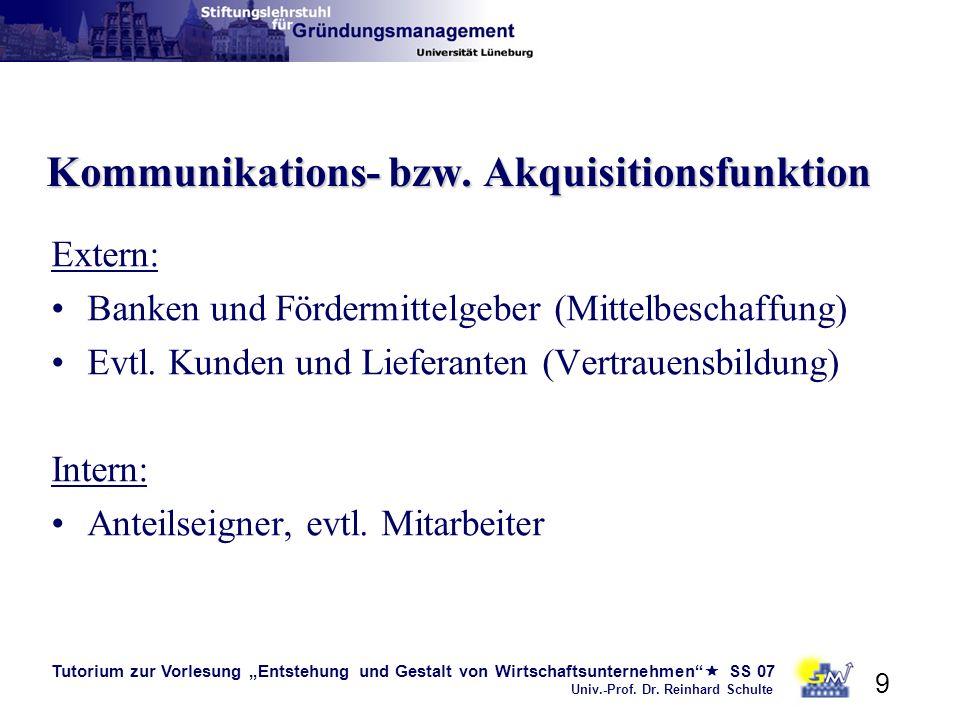 Tutorium zur Vorlesung Entstehung und Gestalt von Wirtschaftsunternehmen SS 07 Univ.-Prof. Dr. Reinhard Schulte 9 Kommunikations- bzw. Akquisitionsfun