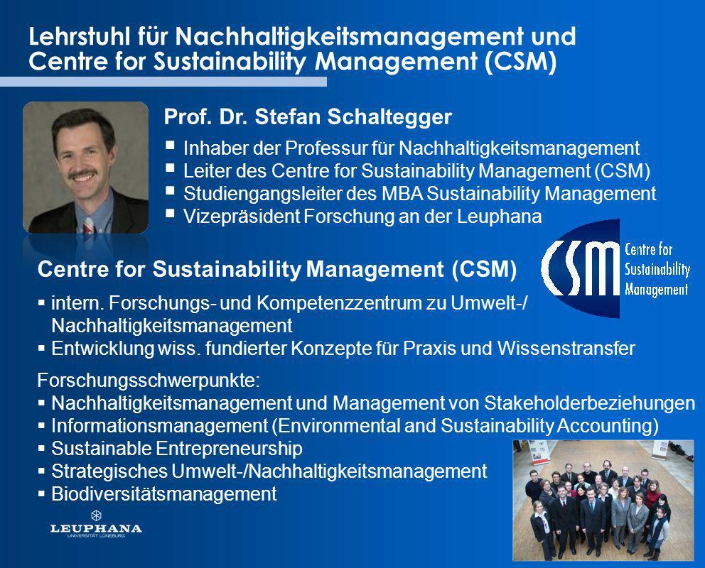 Lehrstuhl für Nachhaltigkeitsmanagement und Centre for Sustainability Management (CSM) Prof. Dr. Stefan Schaltegger Centre for Sustainability Manageme