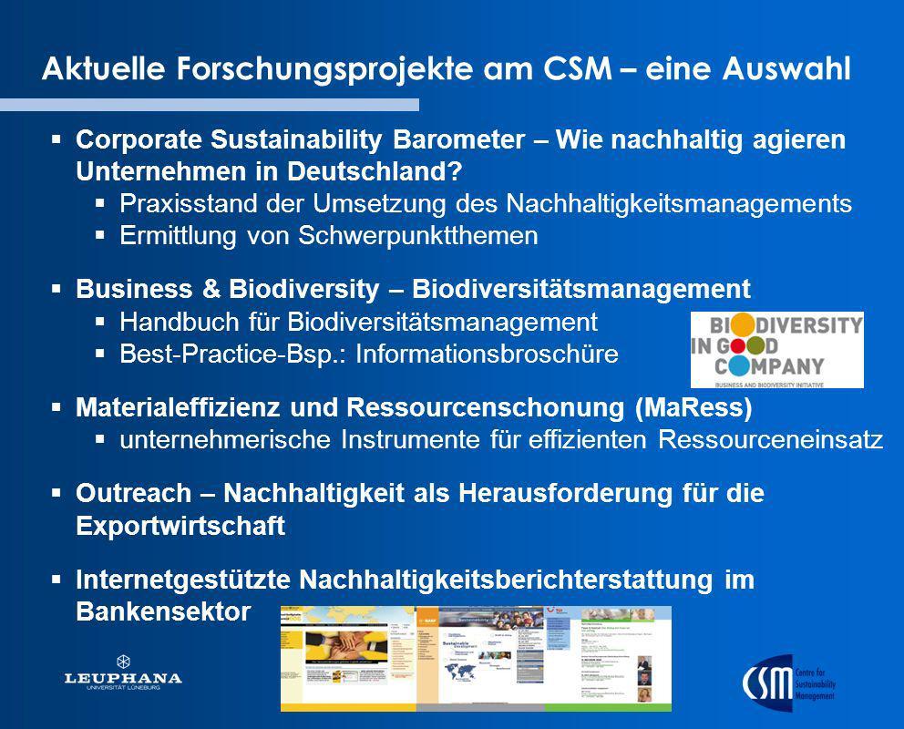 Aktuelle Forschungsprojekte am CSM – eine Auswahl Corporate Sustainability Barometer – Wie nachhaltig agieren Unternehmen in Deutschland? Praxisstand