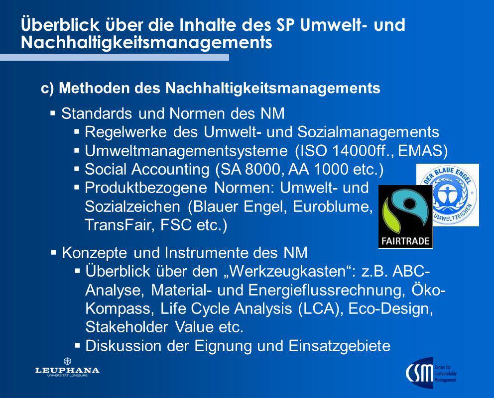 Überblick über die Inhalte des SP Umwelt- und Nachhaltigkeitsmanagements c) Methoden des Nachhaltigkeitsmanagements Konzepte und Instrumente des NM Üb