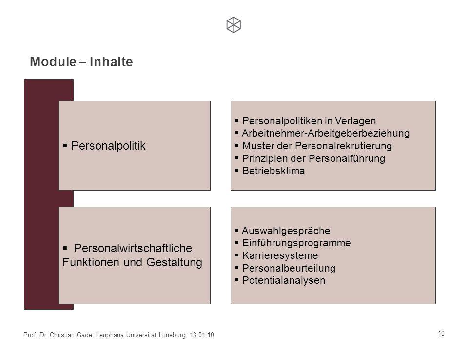 10 Prof. Dr. Christian Gade, Leuphana Universität Lüneburg, 13.01.10 Personalpolitik Personalwirtschaftliche Funktionen und Gestaltung Personalpolitik