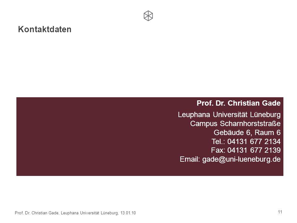 Kontaktdaten Prof. Dr. Christian Gade Leuphana Universität Lüneburg Campus Scharnhorststraße Gebäude 6, Raum 6 Tel.: 04131 677 2134 Fax: 04131 677 213