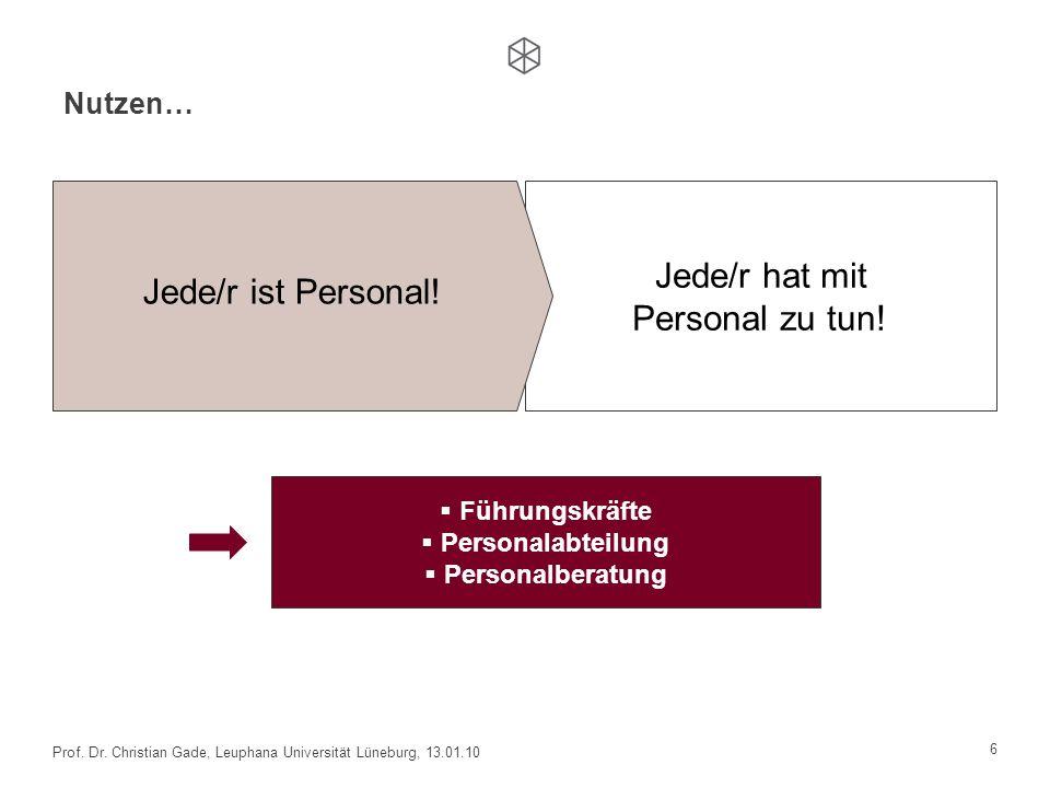 Nutzen… 6 Prof. Dr. Christian Gade, Leuphana Universität Lüneburg, 13.01.10 Jede/r hat mit Personal zu tun! Jede/r ist Personal! Führungskräfte Person