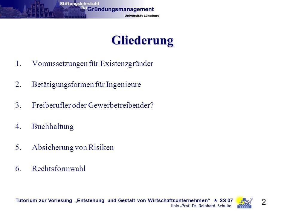 Tutorium zur Vorlesung Entstehung und Gestalt von Wirtschaftsunternehmen SS 07 Univ.-Prof. Dr. Reinhard Schulte 2 Gliederung 1.Voraussetzungen für Exi