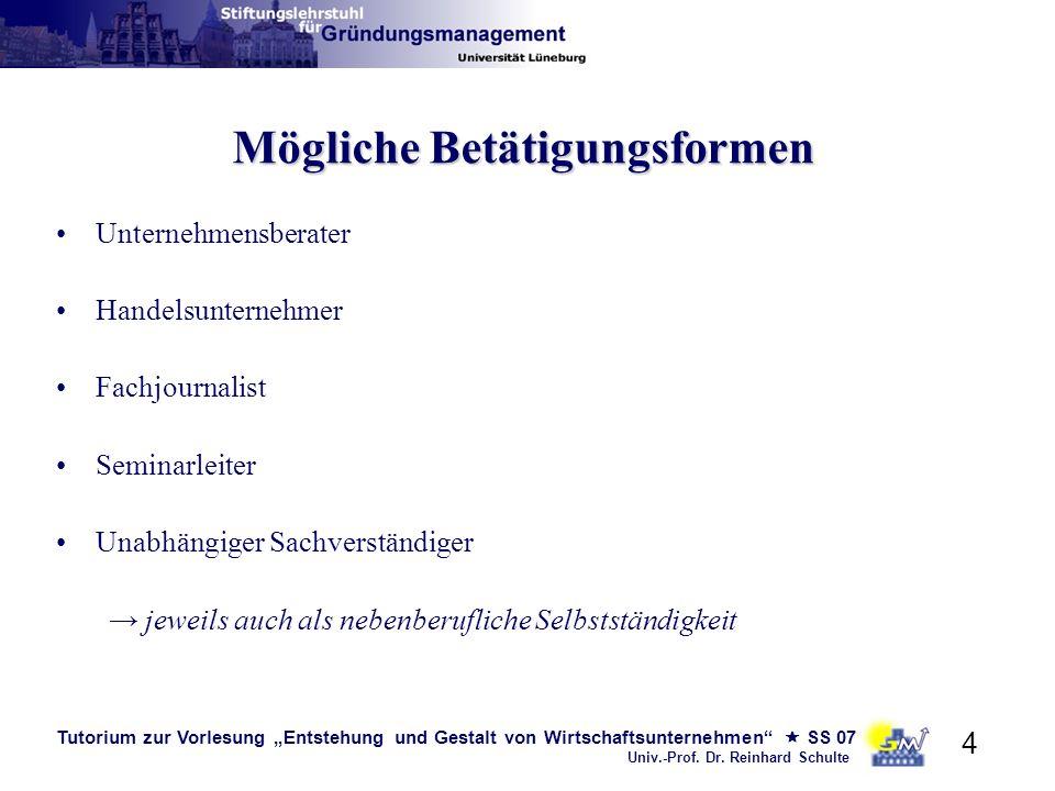 Tutorium zur Vorlesung Entstehung und Gestalt von Wirtschaftsunternehmen SS 07 Univ.-Prof. Dr. Reinhard Schulte 4 Mögliche Betätigungsformen Unternehm