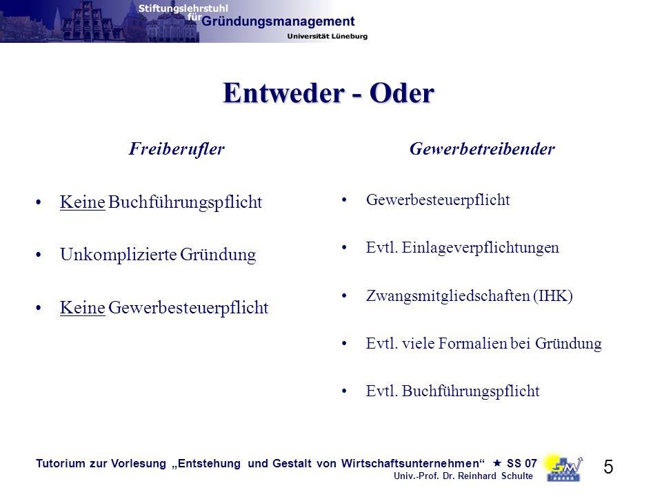Tutorium zur Vorlesung Entstehung und Gestalt von Wirtschaftsunternehmen SS 07 Univ.-Prof. Dr. Reinhard Schulte 5 Entweder - Oder Freiberufler Keine B
