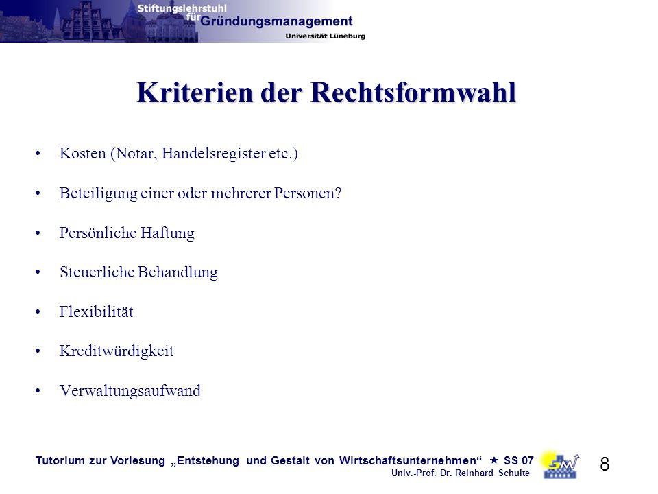 Tutorium zur Vorlesung Entstehung und Gestalt von Wirtschaftsunternehmen SS 07 Univ.-Prof. Dr. Reinhard Schulte 8 Kriterien der Rechtsformwahl Kosten