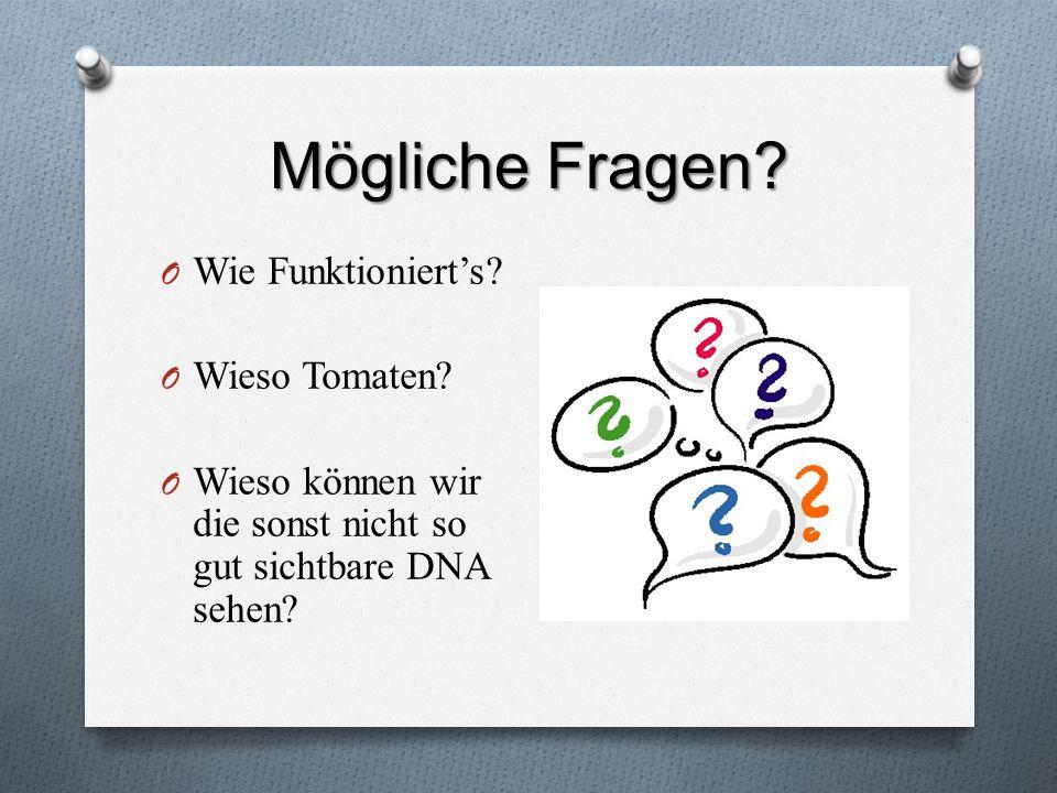 Mögliche Fragen? O Wie Funktionierts? O Wieso Tomaten? O Wieso können wir die sonst nicht so gut sichtbare DNA sehen?
