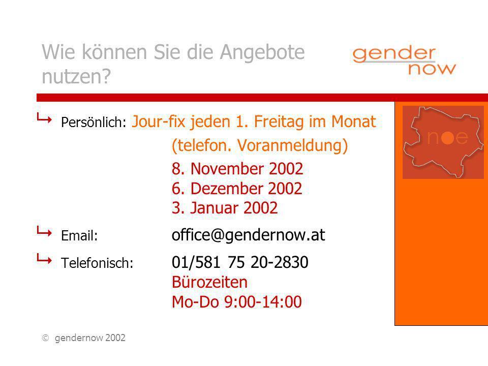 gendernow 2002 Persönlich: Jour-fix jeden 1. Freitag im Monat (telefon.