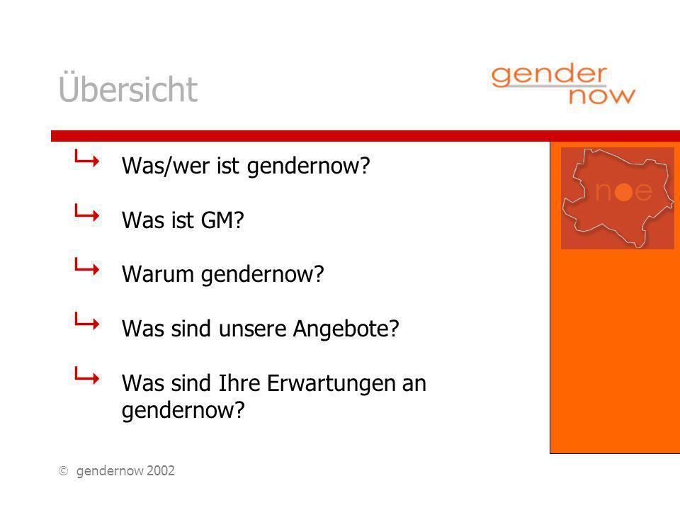 gendernow 2002 Übersicht Was/wer ist gendernow. Was ist GM.