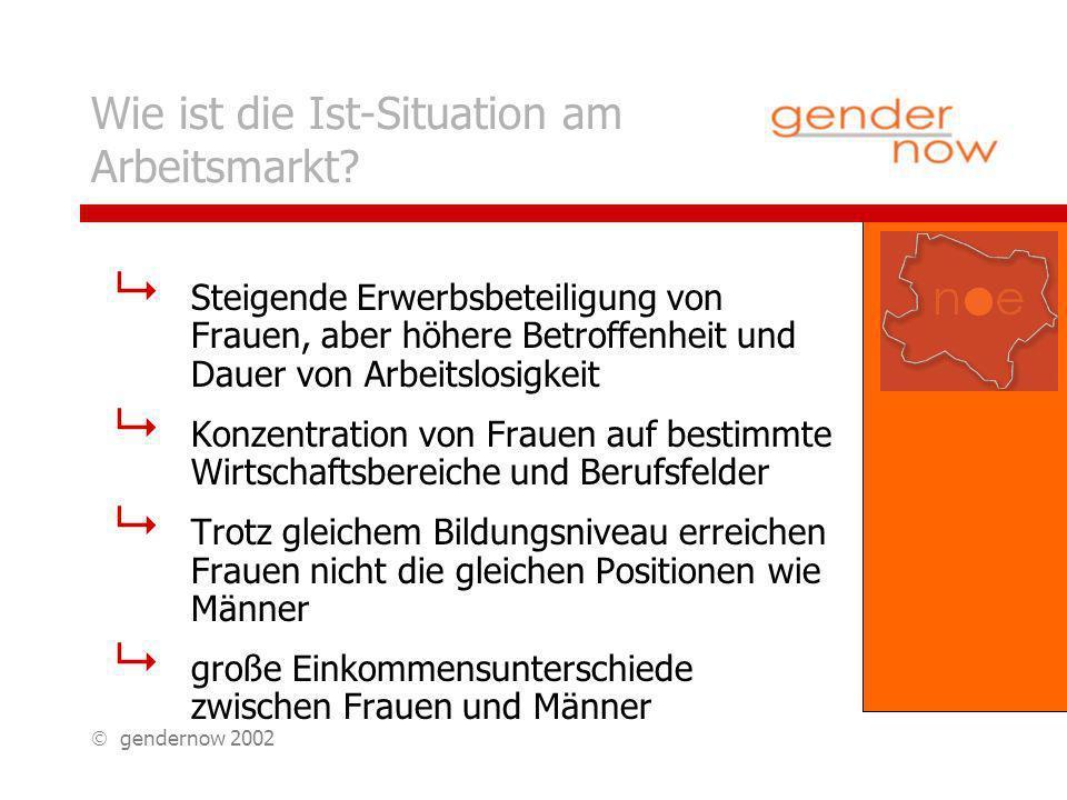 gendernow 2002 Branchenkonzentration in NÖ: Beschäftigungsanteile von Frauen und Männern im Jahr 2001 65,2% 65,3% 70,2% 76% 87% 78,4% 86,2% 83,4% 84,3% 94,8% FrauenMänner 100%