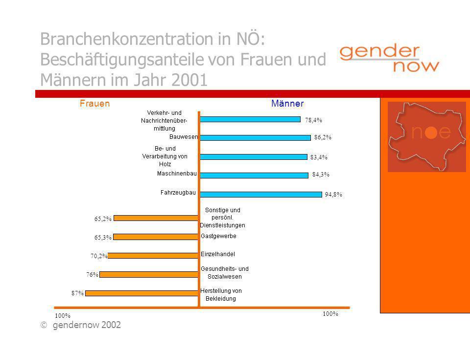 gendernow 2002 Einkommensunterschiede in NÖ: Differenz zum Durchschnitts- einkommen im Jahr 2000 Fahrzeugbau Sachgüter- erzeugung Bauwesen Be- und Verarbeitung von Holz Handel etc.