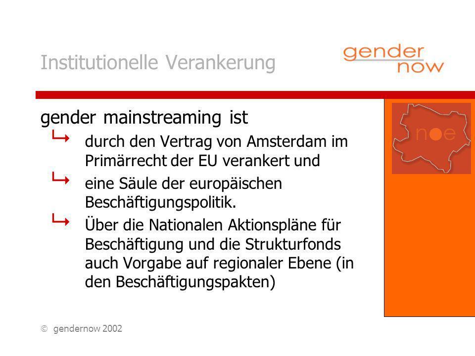 gendernow 2002 Institutionelle Verankerung gender mainstreaming ist durch den Vertrag von Amsterdam im Primärrecht der EU verankert und eine Säule der europäischen Beschäftigungspolitik.