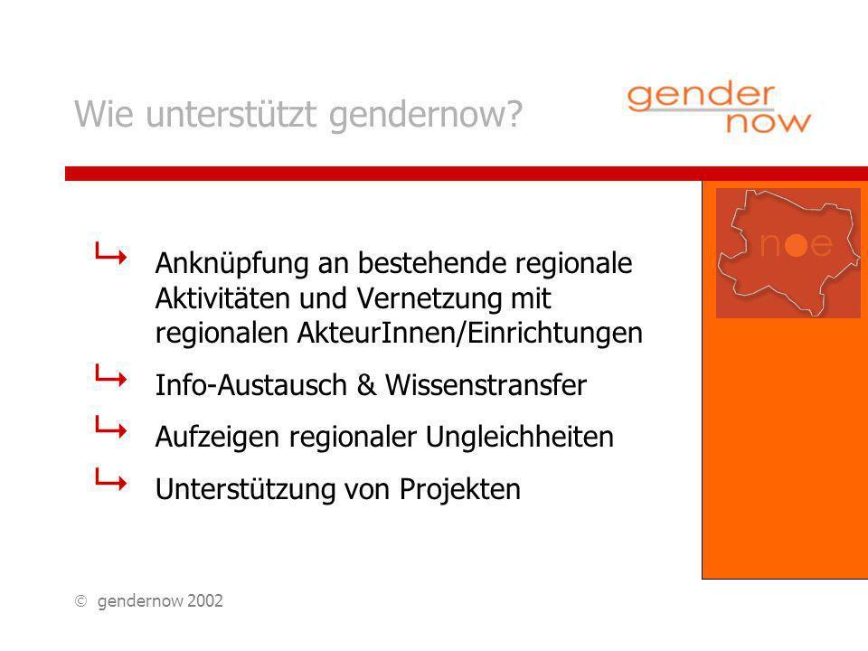 gendernow 2002 Wie unterstützt gendernow.