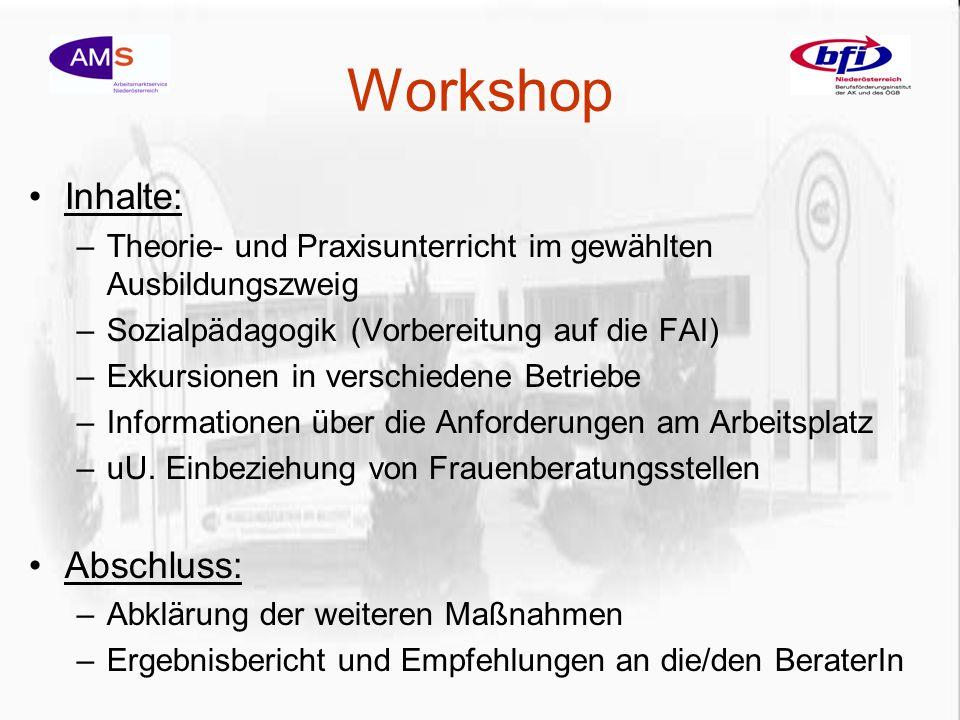 Workshop Inhalte: –Theorie- und Praxisunterricht im gewählten Ausbildungszweig –Sozialpädagogik (Vorbereitung auf die FAI) –Exkursionen in verschiedene Betriebe –Informationen über die Anforderungen am Arbeitsplatz –uU.
