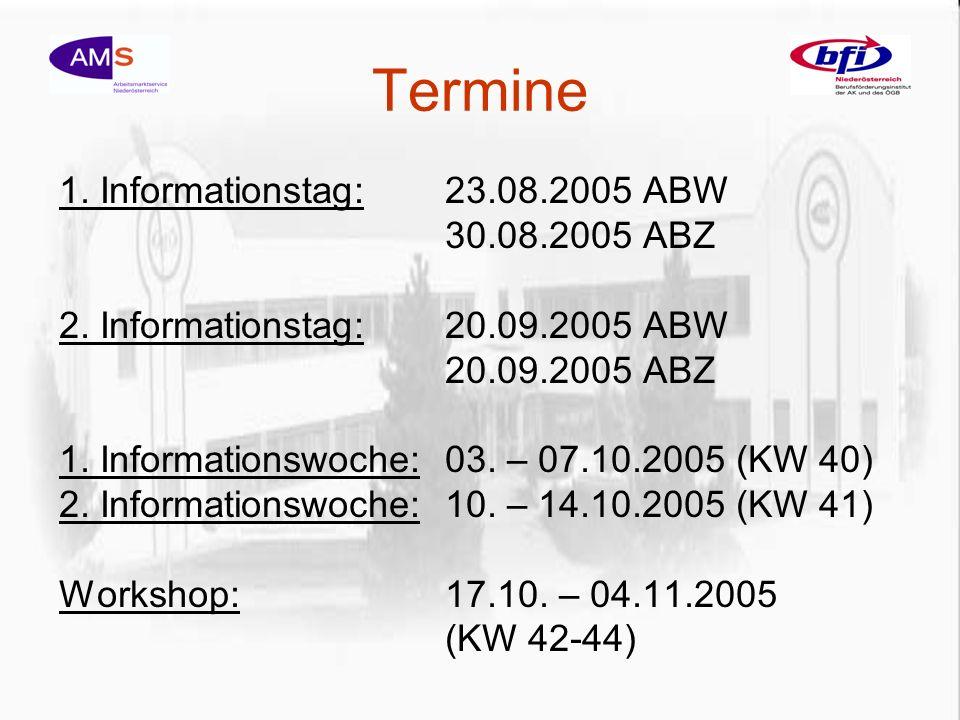 Termine 1. Informationstag:23.08.2005 ABW 30.08.2005 ABZ 2.