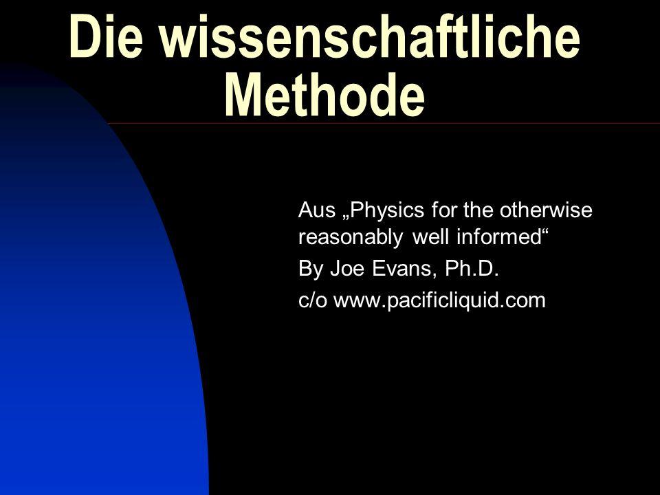 Rekapitulation Die bewährte Methodologie wieder einmal in Erinnerung gerufen The Scientific Method: An organized way to study some phenomenon.
