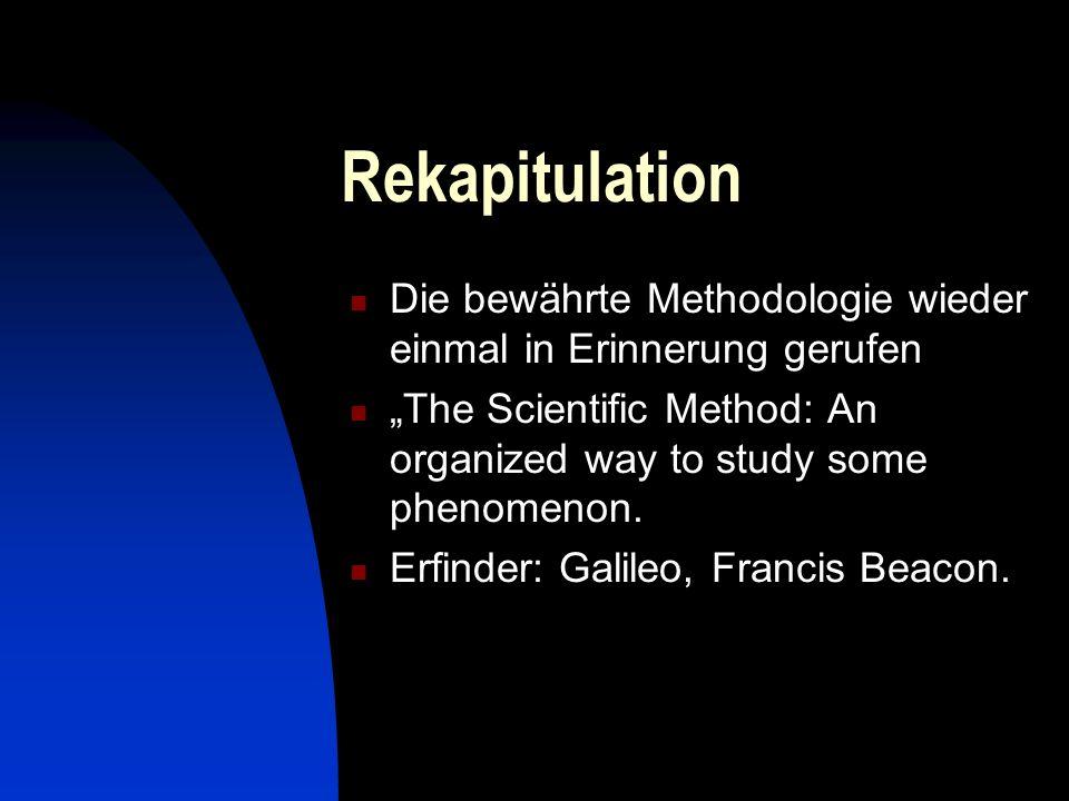 Die haupsächlichen Schritte Ein beliebiges Phänomen beobachten Eine Hypothese aufstellen, was oder wieso es sei.