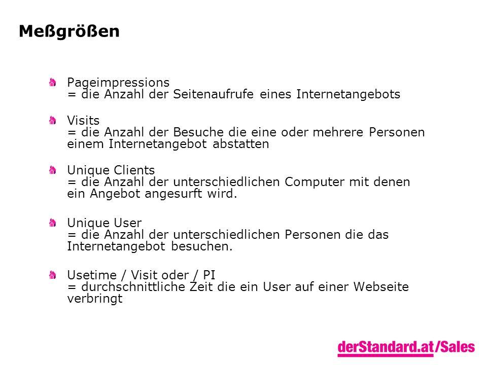 Meßgrößen Pageimpressions = die Anzahl der Seitenaufrufe eines Internetangebots Visits = die Anzahl der Besuche die eine oder mehrere Personen einem Internetangebot abstatten Unique Clients = die Anzahl der unterschiedlichen Computer mit denen ein Angebot angesurft wird.