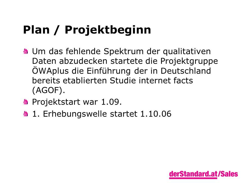 Plan / Projektbeginn Um das fehlende Spektrum der qualitativen Daten abzudecken startete die Projektgruppe ÖWAplus die Einführung der in Deutschland bereits etablierten Studie internet facts (AGOF).