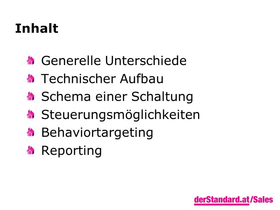 Inhalt Generelle Unterschiede Technischer Aufbau Schema einer Schaltung Steuerungsmöglichkeiten Behaviortargeting Reporting