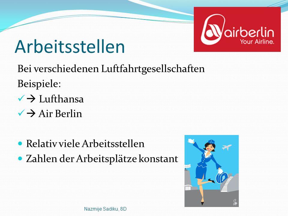 Nazmije Sadiku, 8D Arbeitsstellen Bei verschiedenen Luftfahrtgesellschaften Beispiele: Lufthansa Air Berlin Relativ viele Arbeitsstellen Zahlen der Ar