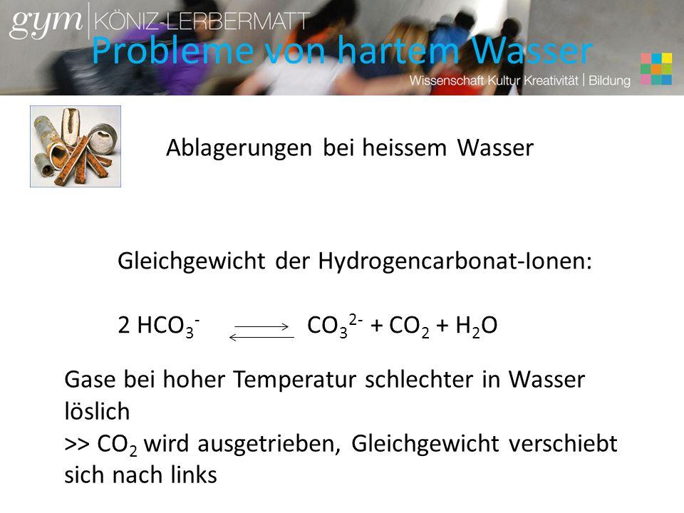 Probleme von hartem Wasser Ablagerungen bei heissem Wasser Gleichgewicht der Hydrogencarbonat-Ionen: 2 HCO 3 - CO 3 2- + CO 2 + H 2 O Gase bei hoher T