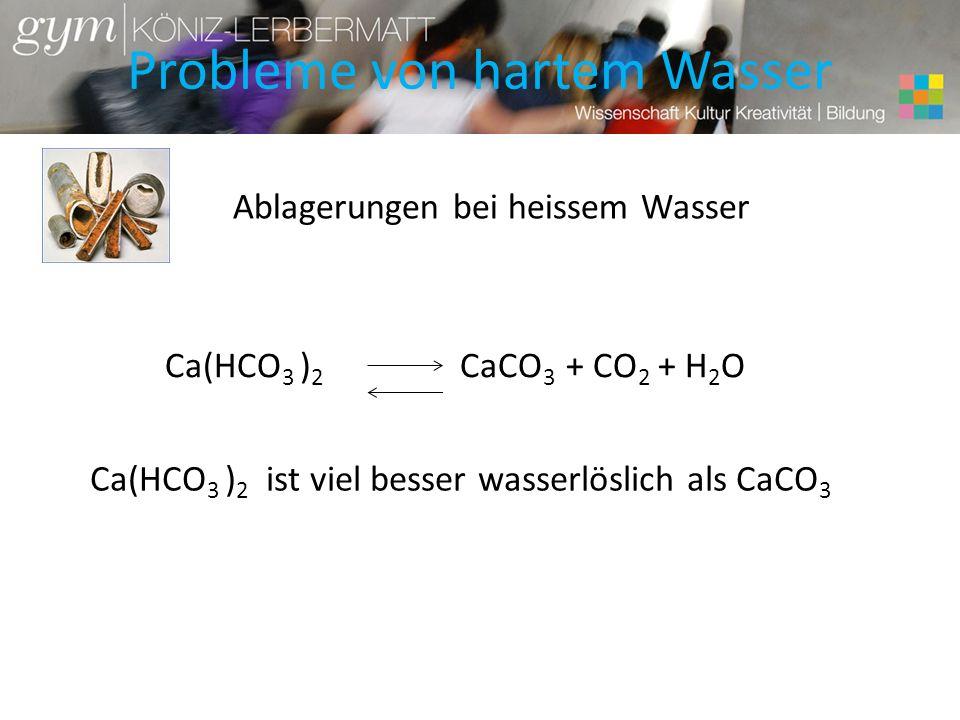 Probleme von hartem Wasser Ablagerungen bei heissem Wasser Ca(HCO 3 ) 2 CaCO 3 + CO 2 + H 2 O Ca(HCO 3 ) 2 ist viel besser wasserlöslich als CaCO 3